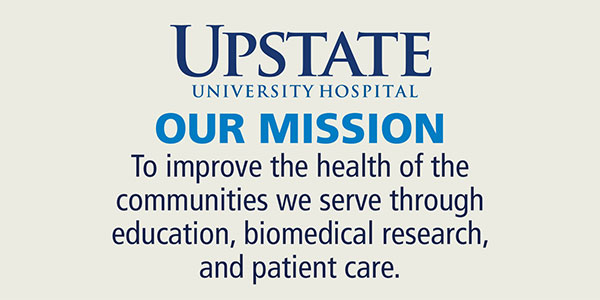 The mission of SUNY Upstate Medical University is to improve the health of the communities we serve through education, biomedical research and patient care.