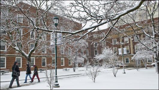First snowfall of 2012 blankets Weiskotten Hall