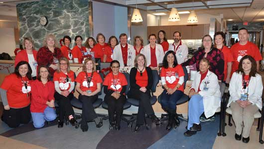 Upstate's Cardiac Care Unit staff decked out in red