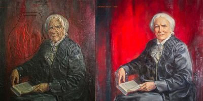 Conservation efforts on Elizabeth Blackwell portrait show much clearer portrait, vibrant red background