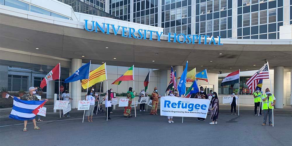INTERNATIONAL FLAVOR: The World Refugee Day celebration representing individuals from Bhutan, Iraq, Bosnia, Syria, Vietnam, Cambodia, Congo, Egypt, Afghanistan, Somalia, Ethiopia, Liberia, South Sudan and Cuba thank essential workers for their fight against covid-19.