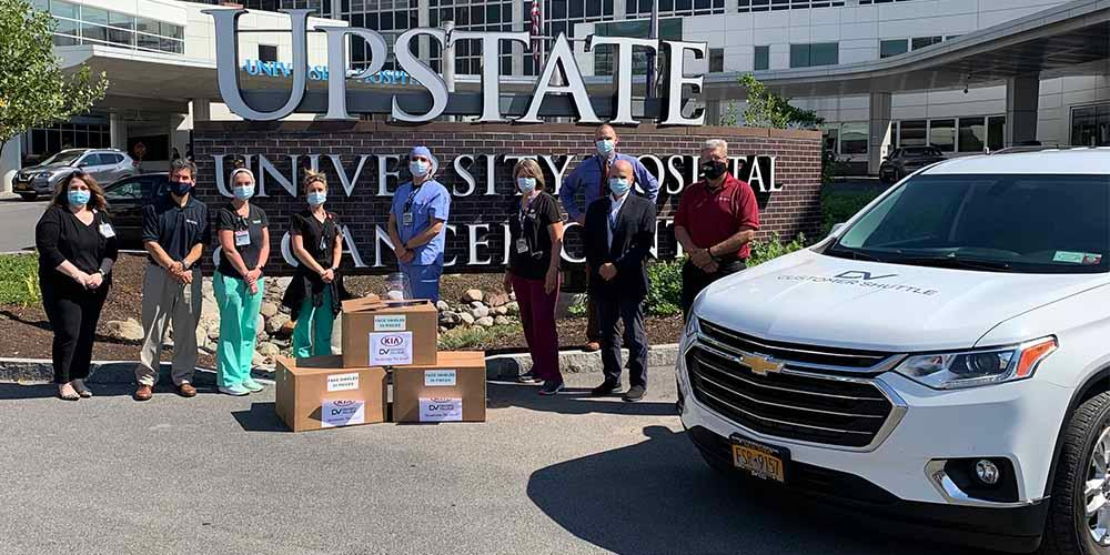 SPECIAL DELIVERY: Driver's Village in Cicero stopped by with a special delivery of 100 face shields as part of its Accelerate the Good Program. Hospital leaders were on hand to accept the generous donation and offer thanks.