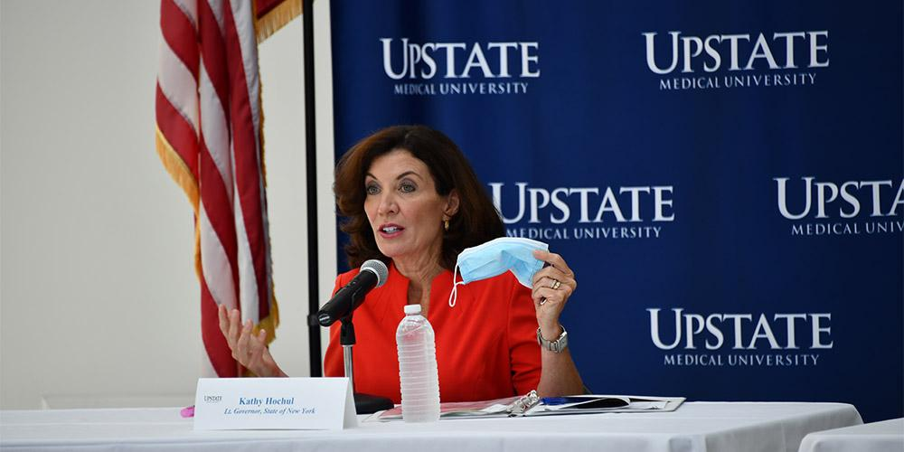 """MASK MESSAGE: While on campus July 14 to get an update on Upstate's COVID-19 research, New York Lt. Gov. Kathy Hochul took the opportunity during a press conference to remind the public of the importance of wearing a mask. She said the state continues to make great strides in working through the pandemic by expanded testing, contact tracing, quarantining and """"something as simple"""" as wearing a mask. """"This is the reason we've been so successful in driving the infection rate down,"""" she said."""