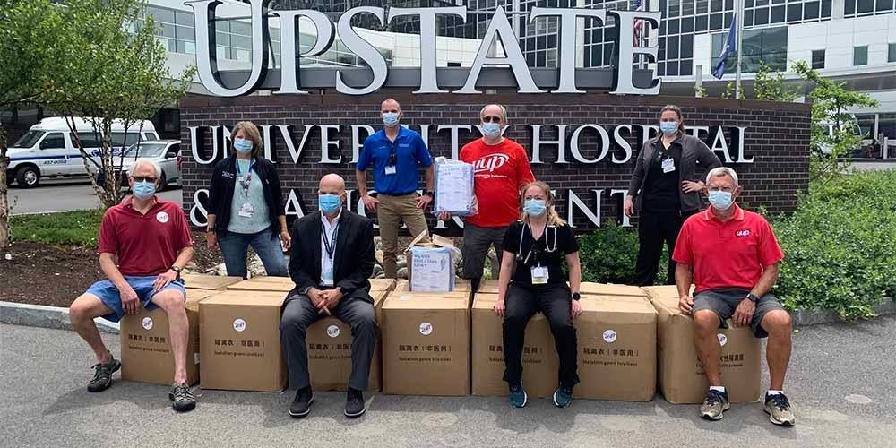 SPECIAL DELIVERY 2: Another delivery from UUP, was 2,000 isolation gowns. Previously, UUP donated 10,000 ear loop masks and 50 gallons of hand sanitizer.