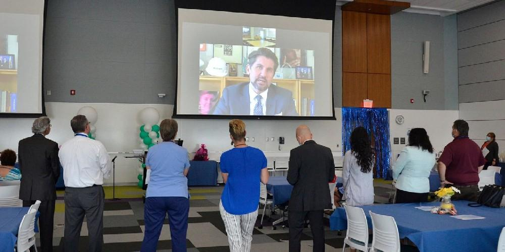 CHANCELLOR PRAISE: SUNY Chancellor Jim Malatras offers his congratulations on Upstate's honor as a Magnet designation facility in recognition of its nursing staff and quality of care during a celebration June 30.