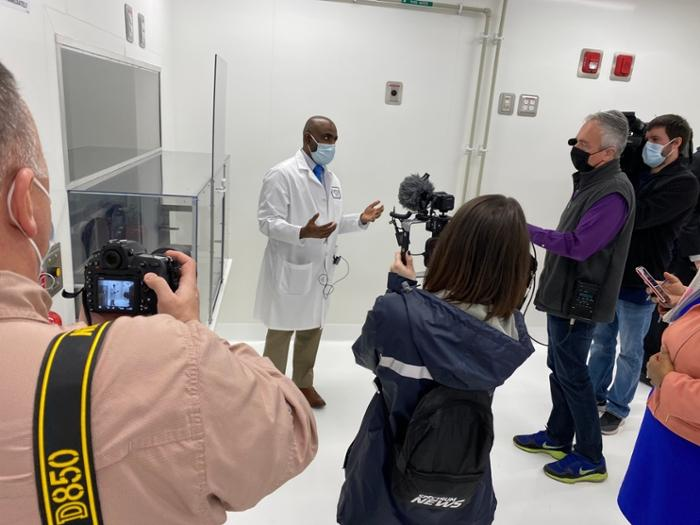 Dr. Saravanan Thangamani, director of Upstate's new Vector Biocontainment Lab, toured reporters and photographers through the new lab March 12, following an opening event with President Mantosh Dewan and SUNY Chancellor Malatras. The new vector lab will allow Upstate to research coronavirus, Lyme disease, Zika and more. A BSL-3 lab, the facility has advanced CDC-level biosafety precautions in place. The facility is funded by a NY SUNY 2020 Challenge Grant.