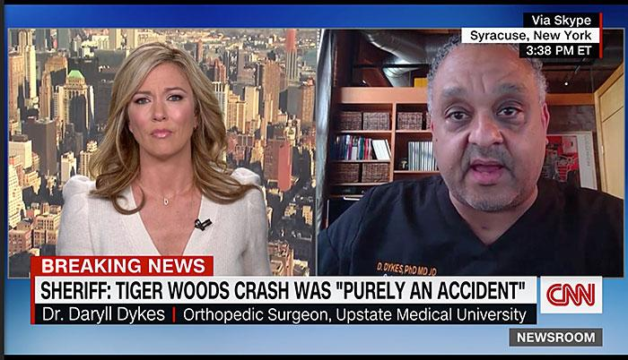 LIVE ON CNN: Upstate's Chief Diversity Officer Daryll Dykes, PhD, MD, JD, an orthopedic surgeon, was live with CNN Feb. 24 discussing the injuries Tiger Woods suffered in car accident. Dr. Dykes discussed the healing process and what rehabilitation typically looks like with similar leg injuries, with CNN reporter Brooke Baldwin. To watch, visit: https://video.snapstream.net/Play/2rwEnT9FWsGVyIILV22CNp?accessToken=2e3ls9dy3suy