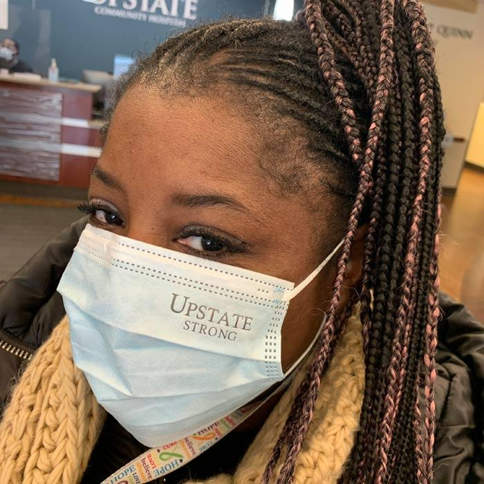 UPSTATE STRONG! You may have noticed the Upstate Strong logo on ear loop masks at the front entrances. Thanks to President Mantosh Dewan, MD, and Materials Management for providing this special mask as recognition of the strength and resiliency of our staff and students this past 12 months. The masks are disposable and the logo does not impact the integrity of the mask. Working with official Upstate suppliers, these were obtained at no additional cost and are consistent with current ear loop masks (Lawson #72043). The masks will be distributed at entryways until supplies are exhausted.