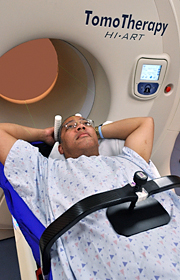 Patient positioned for SBRT treatment using an immobilization device and abdominal compression
